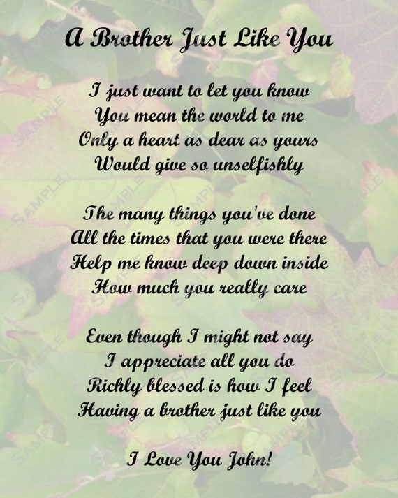Special Gift For Brother On His Wedding Day : Items similar to Brother Poem Love Poem Digital INSTANT DOWNLOAD - On ...