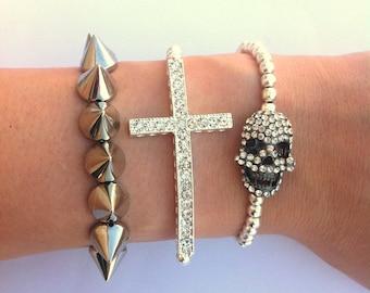 Rhinestone Skull Spike Studded Rhinestone Sideways Cross Silver Layered Bracelet SET