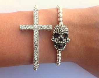 Rhinestone Sideways Cross Skull Silver Layered Bracelet Set