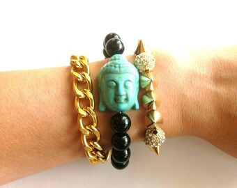 Gold Curb Chain Turquoise Buddha Swarovski Gold Spike Bracelet Set