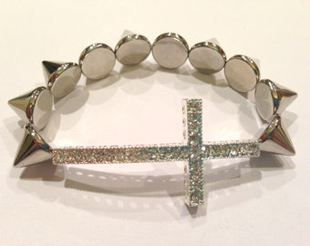 Silver Spike Studded Sideways Rhinestone Cross Bracelet