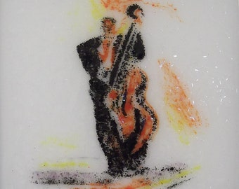 Bass Violinist Fused Glass Wall Art