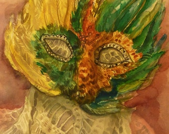 Original Water Color Painting of a Mardi Gras Mask - Large Watercolor Painting -Masquerade Mask - New Orleans - Louis Armstrong