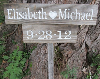 Bride (heart) Groom  Rustic wedding Personalized-Handmade sign   made from reclaimed wood