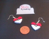 pokeball heart  earings