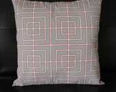 Coral and Grey Geometric Pillow Cover, 18x18