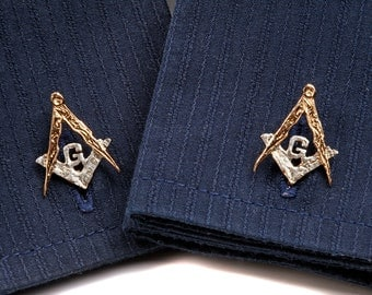 Masonic Cufflinks in 24 carat Gold on Sterling Silver.