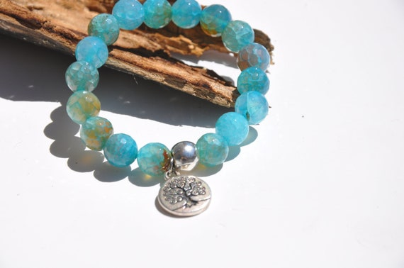 Harmony and Balance - Blue faceted Agate beads - Tree of Life charm bracelet - Mala bracelet - Yoga - buddhist
