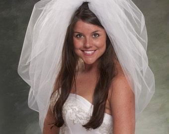 Bubble Veils Waist Length Veils 32 Inch Bridal Veil Tulle Veils Poufy Veils Light Ivory Veils Diamond White Veils Wedding Veils