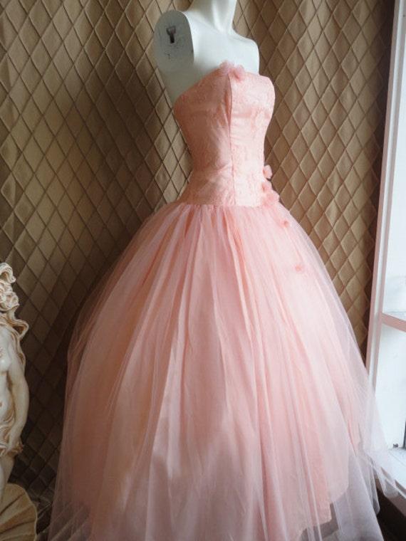 80s Dress Wedding Dress Vintage 1980s Pink Peach Tulle