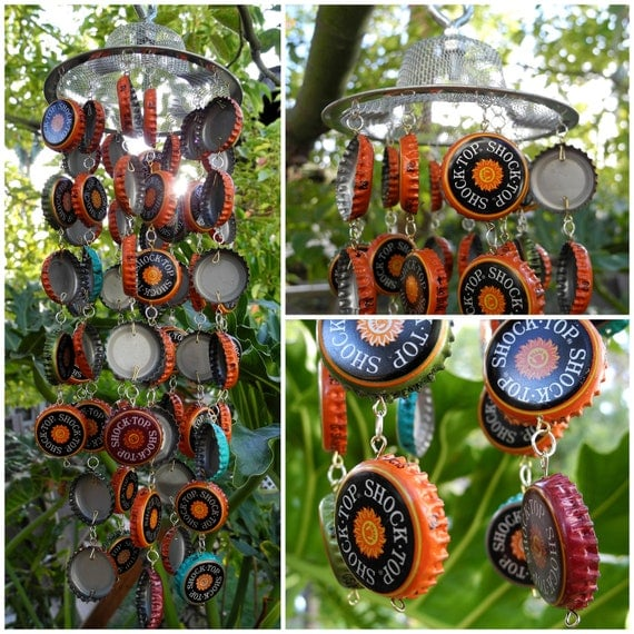 Assorted shock top custom handmade recycled upcycled beer for Bottle cap wind chime