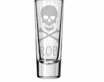 Skull Shot Glass - Deep Etched Skull Shot Glass - Jolly Roger Shot Glass, Skull Glass, Personalized Shot Glass, Skull and Crossbones