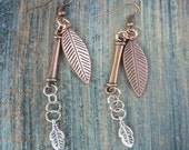 copper leaf charm earrings dangling leaves copper  silver gypsy boho hippie tribal and native american inspired