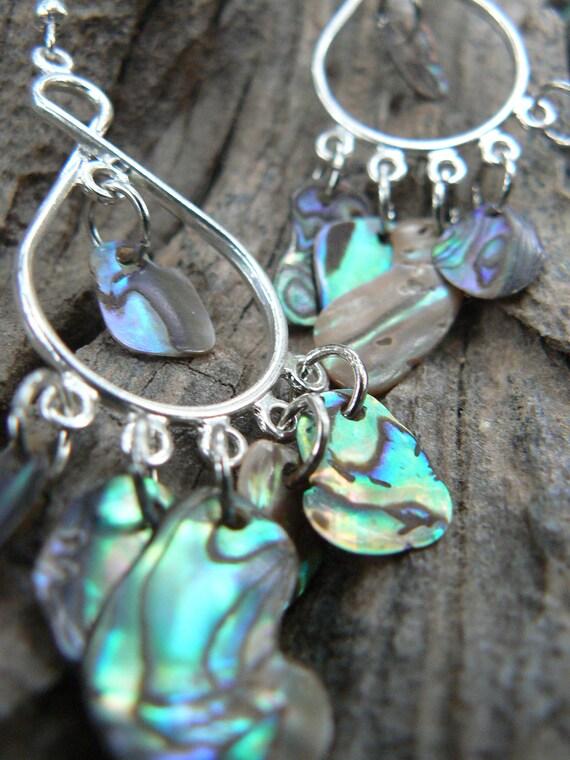 abalone earrings mermaid earrings  chandelier earrings  shell earrings dangle tear drop hoops summer mermaids cruise gypsy boho hippie style