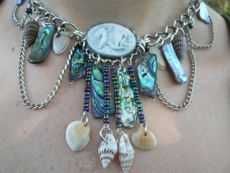 Mermaid Abalone Necklace Mermaid Siren Cameo Abalone