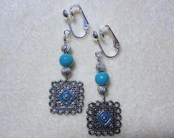 Beaded Filigree Turquoise Antiqued Dangle clip on earrings C97