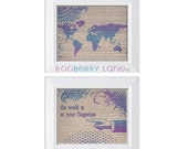 Printable World at Your Fingertips Purple Blue and Tan Grungy Halftones Art