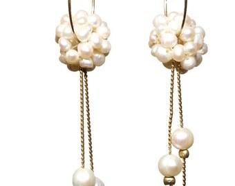 Elegant Freshwater Pearl Cluster Hoop Earrings - Bridal Earrings - Wedding Earrings - Elegant Pearl Earrings
