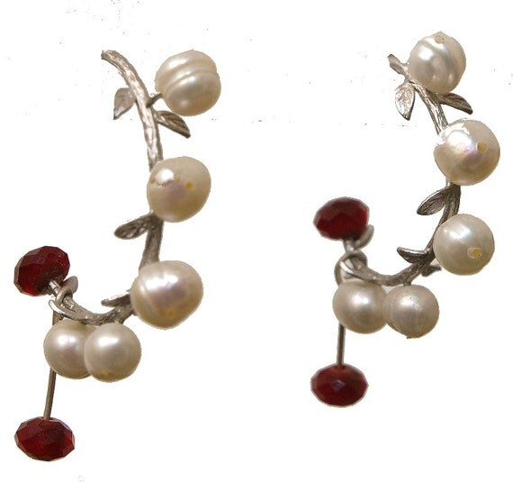 Elegant Pearl And Crystal Silver Vine Post Earrings - Leaf Jewelry - Ruby and Pearls