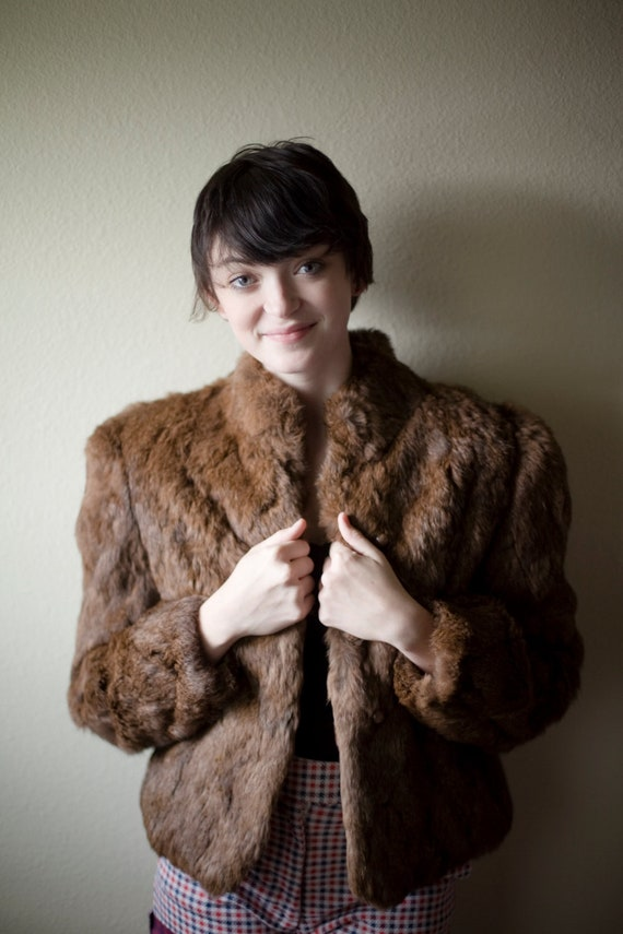 Brown Vintage Real Fur Coat M-L