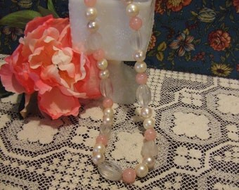 Pretty Pink and White Vintage Necklace