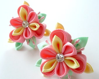 Kanzashi fabric flowers. Set of 2 ponytails . Pink, lt.yellow and mint.