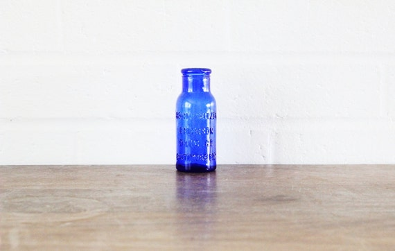 Vintage glass - Vintage Cobalt Blue Bromo Seltzer bottle vintage home decor vintage bud vase