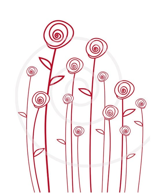 Simple Line Art Background : Abstract red roses digital clip art flower clipart