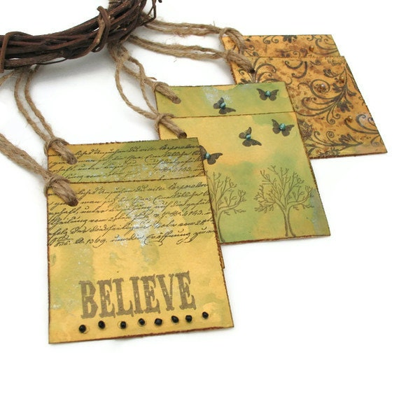 Vintage Syyle Gift Tags Butterfly Tags Believe Tags Vintage Swirls