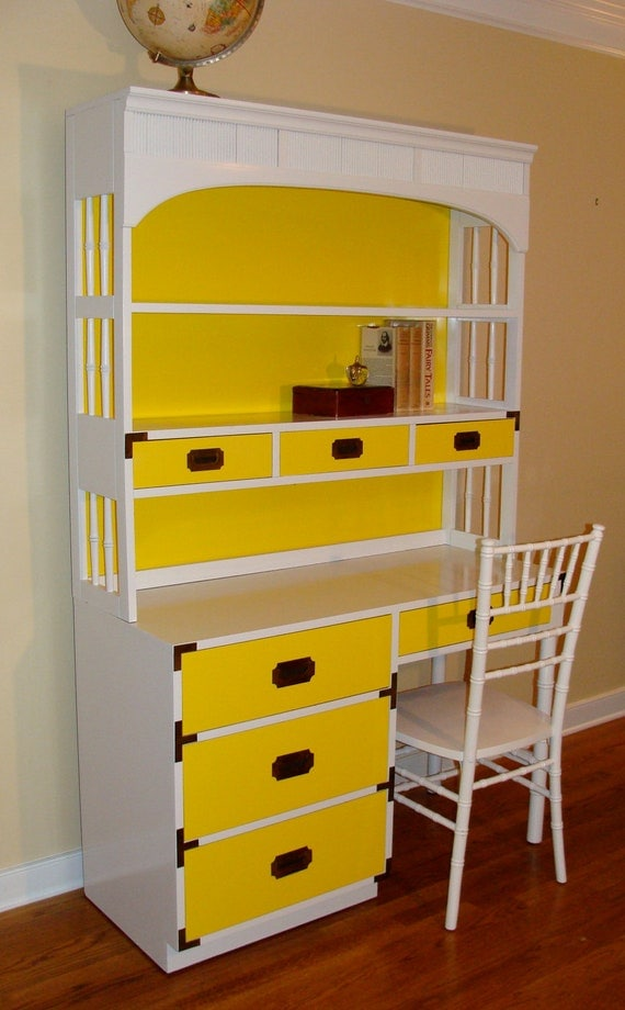 Happy Yellow Campaign Workstation Faux Bamboo Accent Desk & Hutch