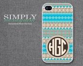 iphone 4 case - iphone 4s case - iphone 5 case - turquoise geometric pattern monogram