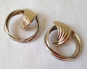 Vintage  silver and gold tone shell post earrings