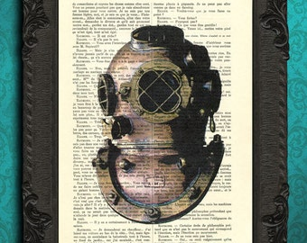 Diving helmet, nautical vintage home decor, sealife prints, sea life art, scuba diving art, beach home decor scuba diver gift deep sea diver