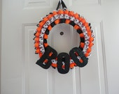 Halloween BOO ribbon wreath