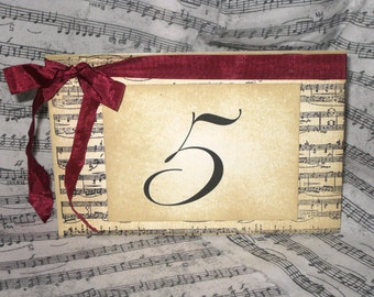 Vintage Style French Elegant Wedding Table Number Name Cards Cards with Music Design Original Design ECS