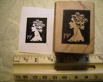 UK England 19 p faux postage stamp  rubber stamp wood mounted scrapbooking rubber stamping