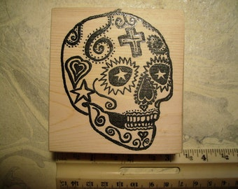 Dia de Los Muertos  Day of the dead skull No.3  rubber stamps Wood mounted scrapbooking rubber stamping