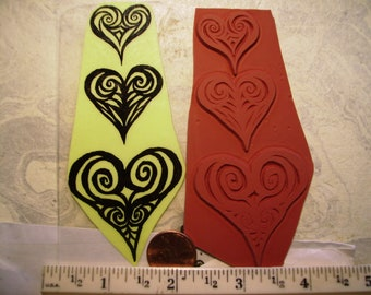 3 cute hearts like eraser carvings  rubber stamp un-mounted scrapbooking rubber stamping