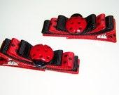 Ladybug Hair Clips - black and red polka dot ladybug with bow hair barrette