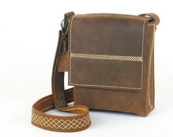 SALE - 20% Off  - Handmade Chocolate-Brown Leather Messenger Bag, Handstitched Leather, Crossbody Bag