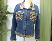 Vintage Blue Denim Jacket Hollywood Rock Western Beaded Studded Sequined Leopard Print