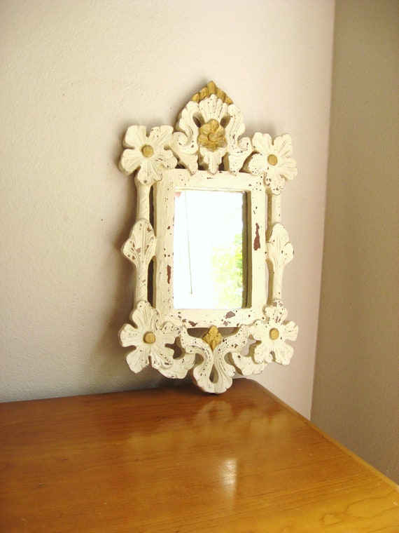 Vintage Cottage Chic Mirror, Ornate Wood Mirror, Shabby Chic Style