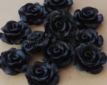 Black Resin Rose 11mm, Resin flower, DIY