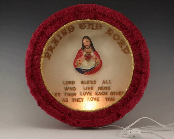 Unique and oh so Kitsch Red Furry Jesus Shadow Box Light Kit Project