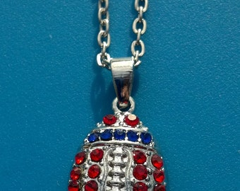 Red and Blue Rhinestone Bling Necklace