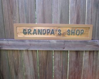Grandpa's Shop Sign - Routed - Workshop Sign - Grandpa's Workshop