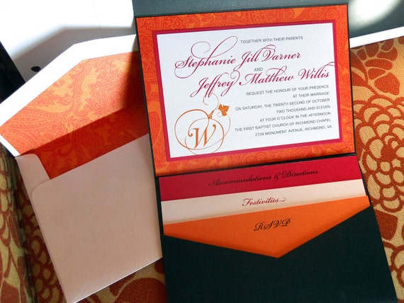 Fall Color Wedding Invitations: Fall Colors In Pocket-Fold Wedding By BirchPaperandDesign