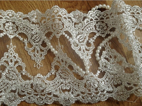 Silver Embroidery Lace Trim Luxury Vintage Mesh Lace Fabrics