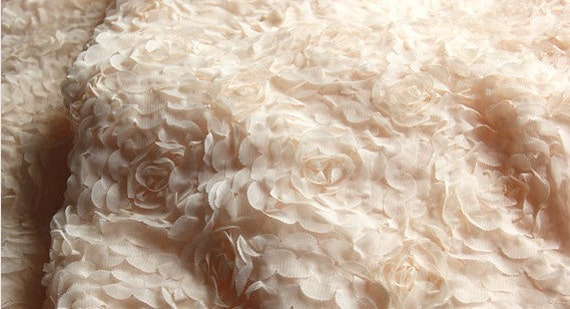 Nude Rosette Chiffon Lace Fabrics for Wedding Dress by LaceFun