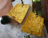 Starry Night : Handstamped Brass Earrings - Dangle Earrings - Tiny star - Vintage Crystal Beads - Unique jewelry - Bridesmaid Gift - OOAK